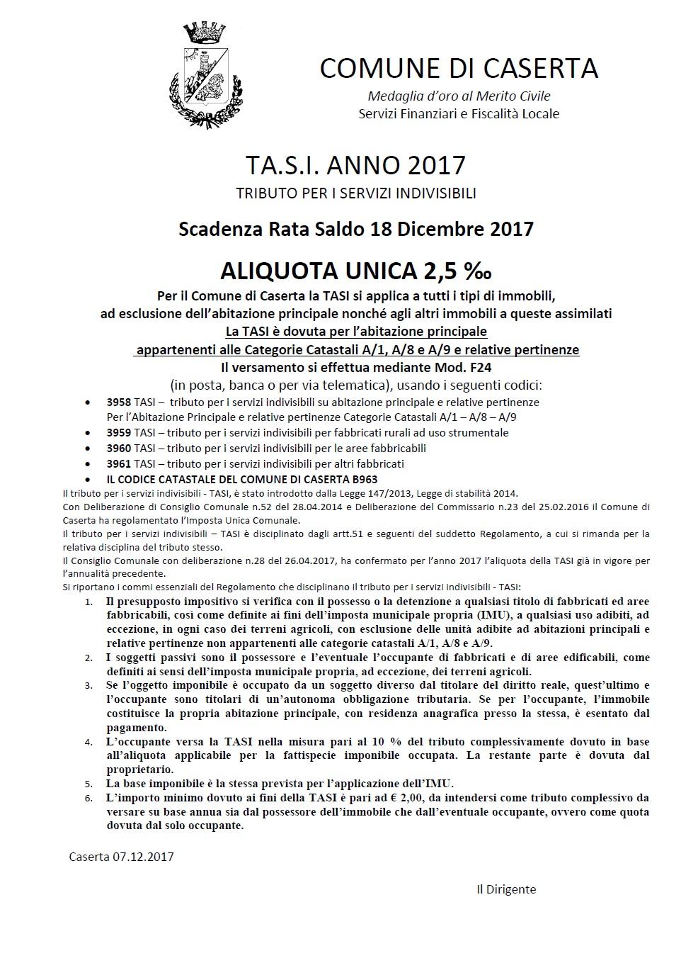 Avviso tasi scadenza saldo il 18 dicembre comune di caserta for Deposito bilancio 2017 scadenza