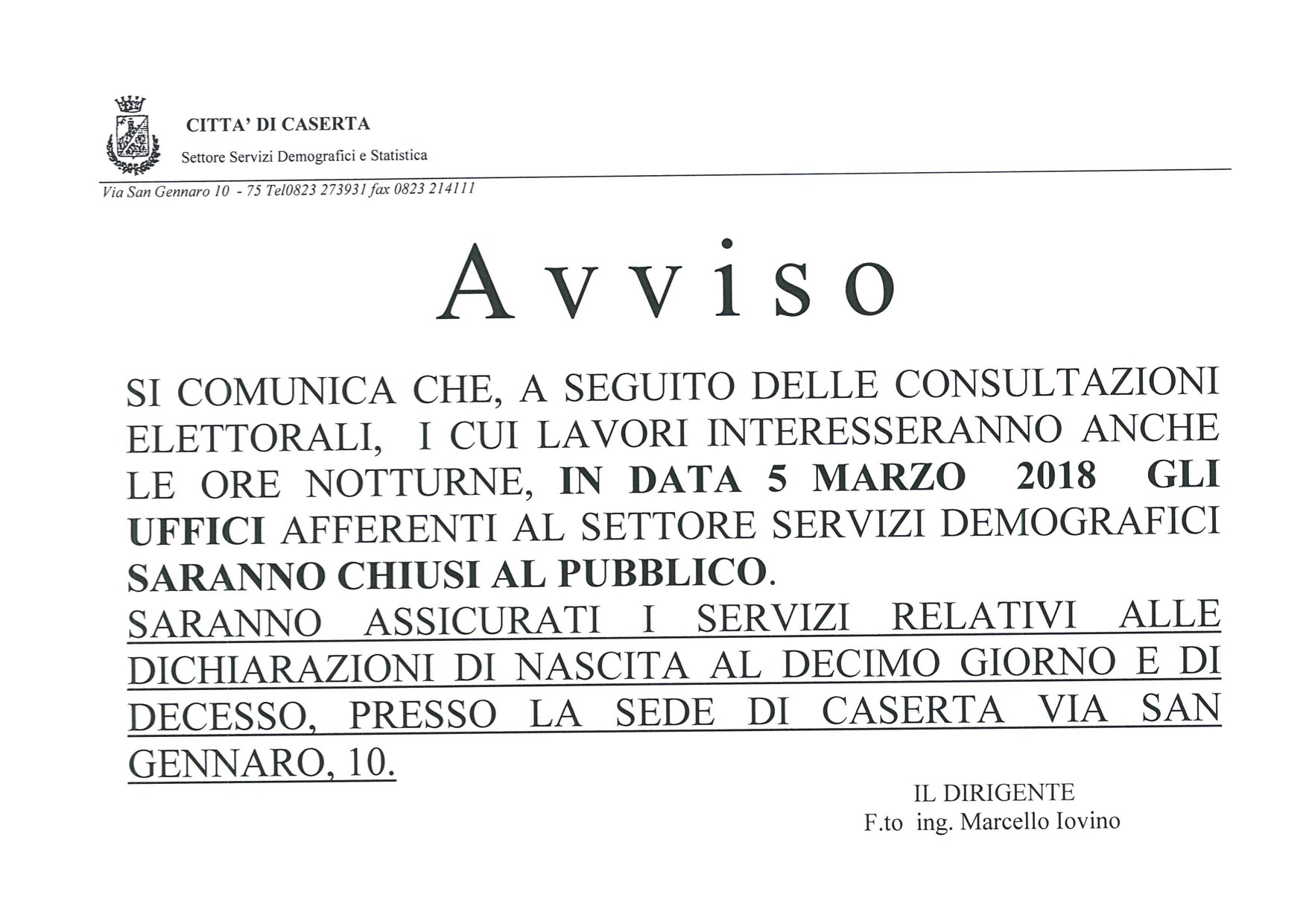 AVVISO 5 MARZO CHIUSURA